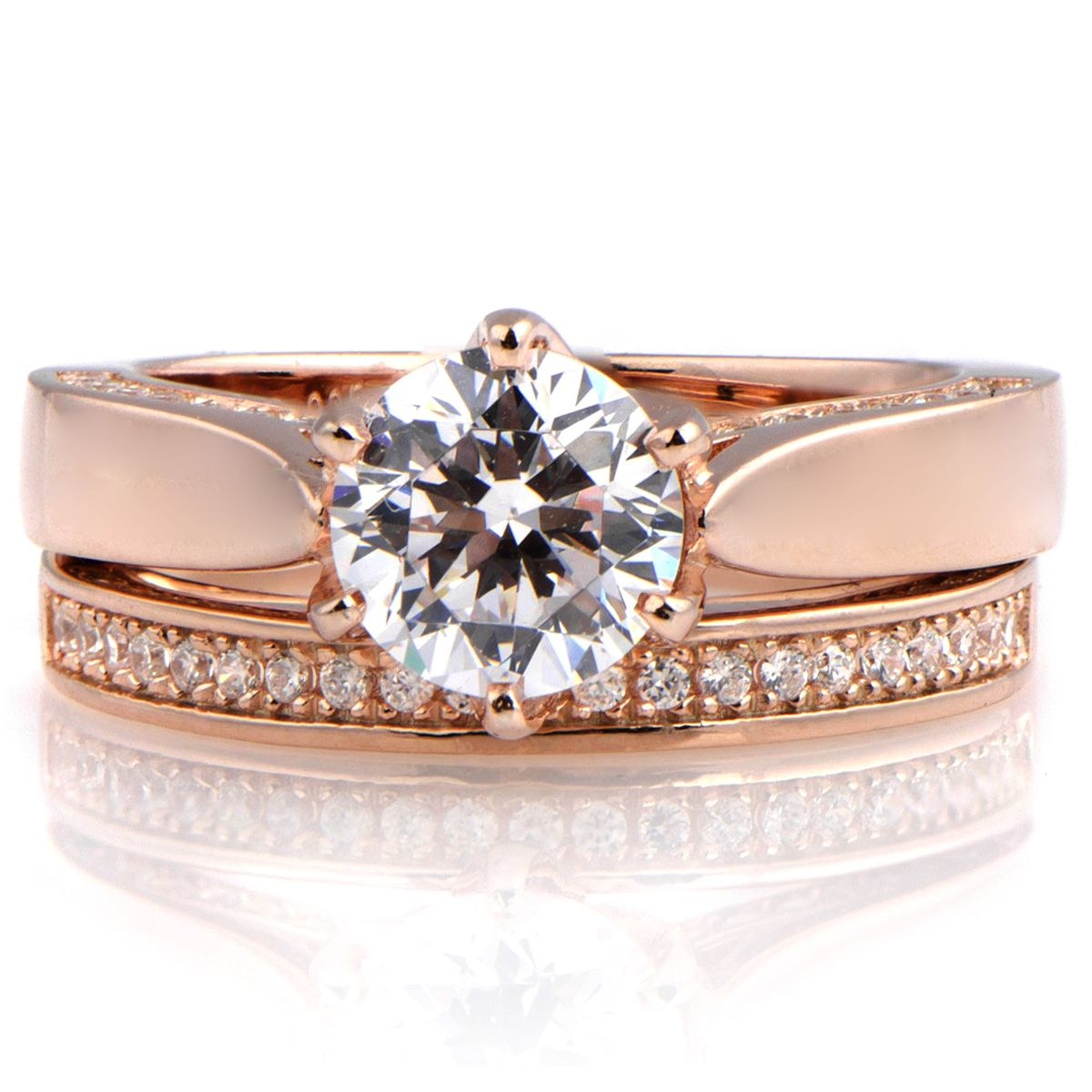 cheap rose gold wedding ring sets minimalist concept on ring - Rose Gold Wedding Ring Set