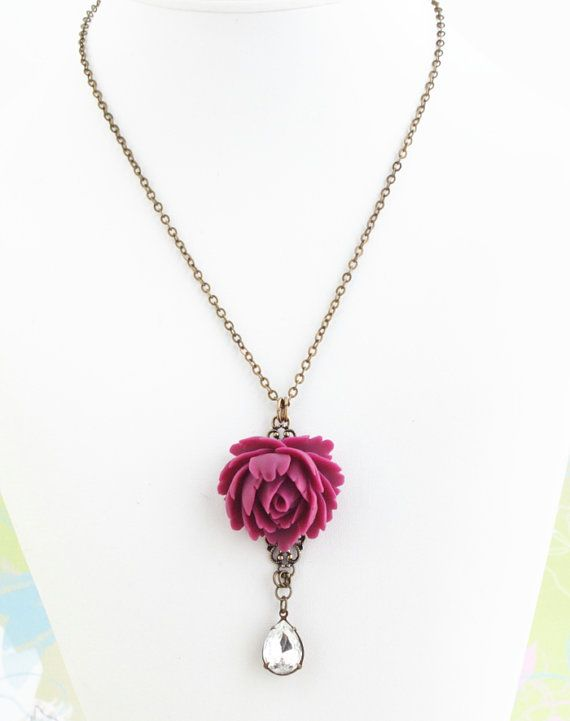 Deep Pink Rose Necklace Clear Vintage by JacarandaDesigns