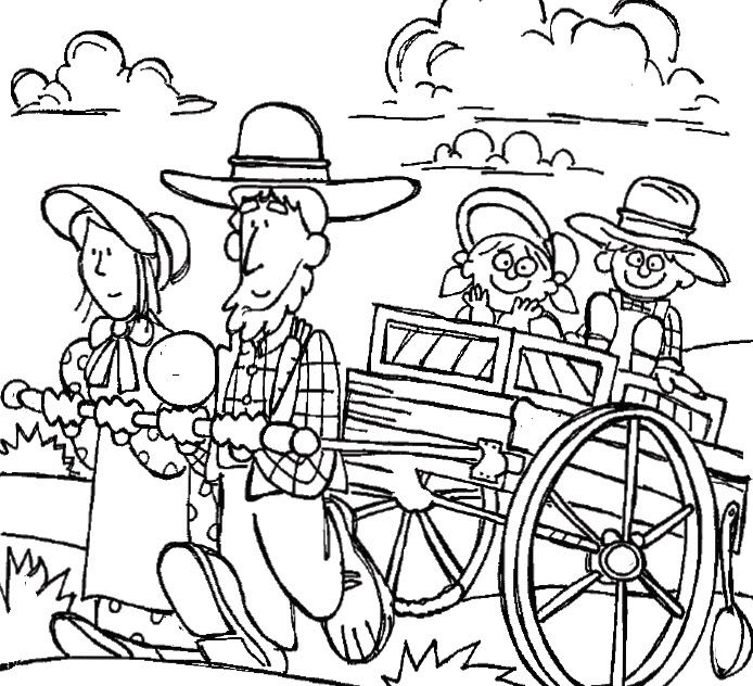 Clipart Pioneer Family Coloring Page Coloring Pages