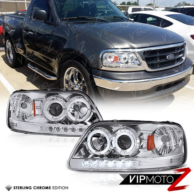 1997 2003 Ford F150 Chrome Angel Eye Projector Led Headlight Headlamp Expedition Ford F150 Led Headlights Headlights
