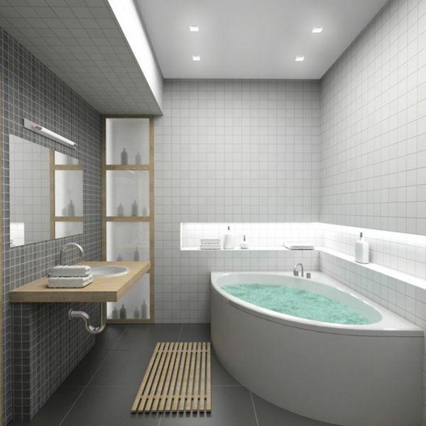 le carrelage mural pour la salle de bain le style et la beaut archzinefr - Salle De Bain Carrelage Gris Et Blanc