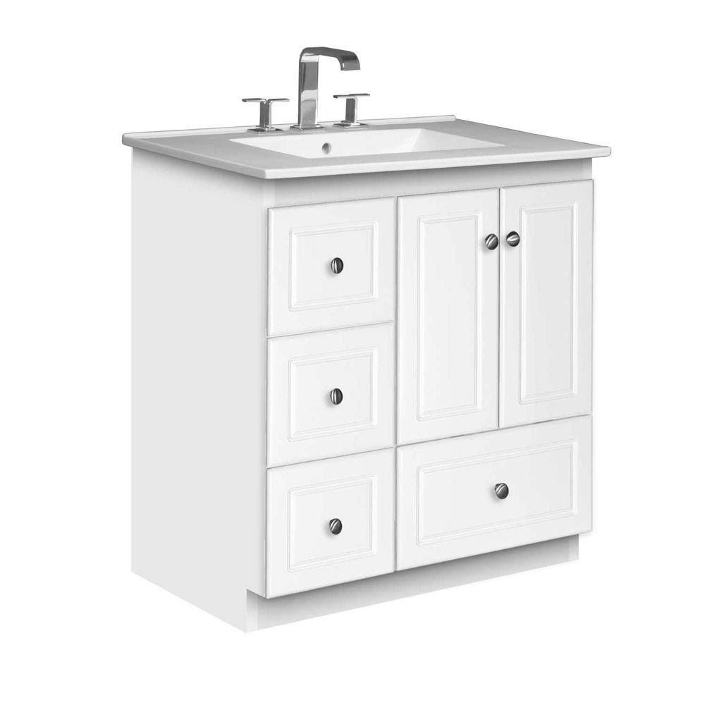 Shopping for bathroom vanities - Strasser Woodenworks Simplicity 31 Bathroom Vanity Set Base Finish Satin White 01 950