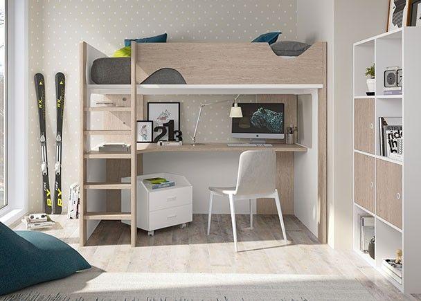 Dormitorio infantil con litera exenta con zona estudio for Muebles juveniles zona oeste