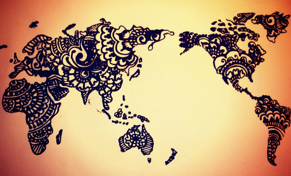 I will travel around thee world someday loves it x3 pinterest world map tattoo henna style gumiabroncs Image collections