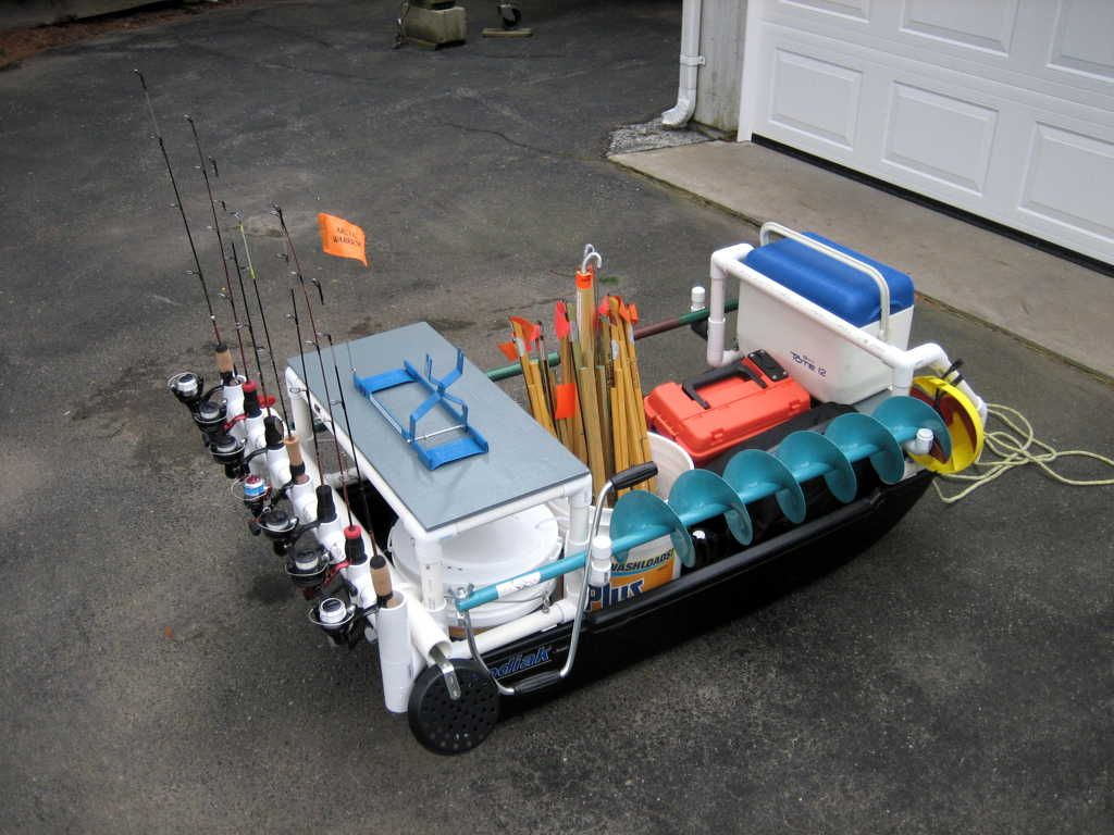 Pvc show us your pvc build add on rod holders etc for Ice fishing sled ideas