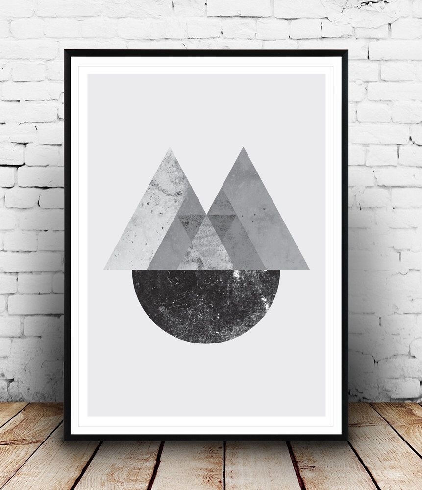 Geometric Print, Abstract Wall Art, Minimalist Poster, Black And White, Wall  Decor