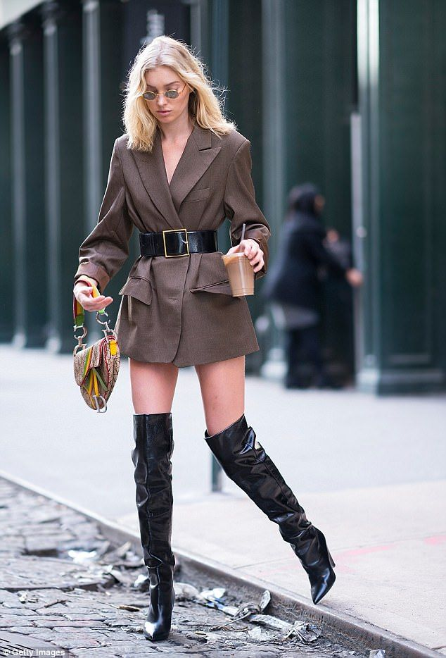Elsa Hosk parades her VERY petite figure in New York City