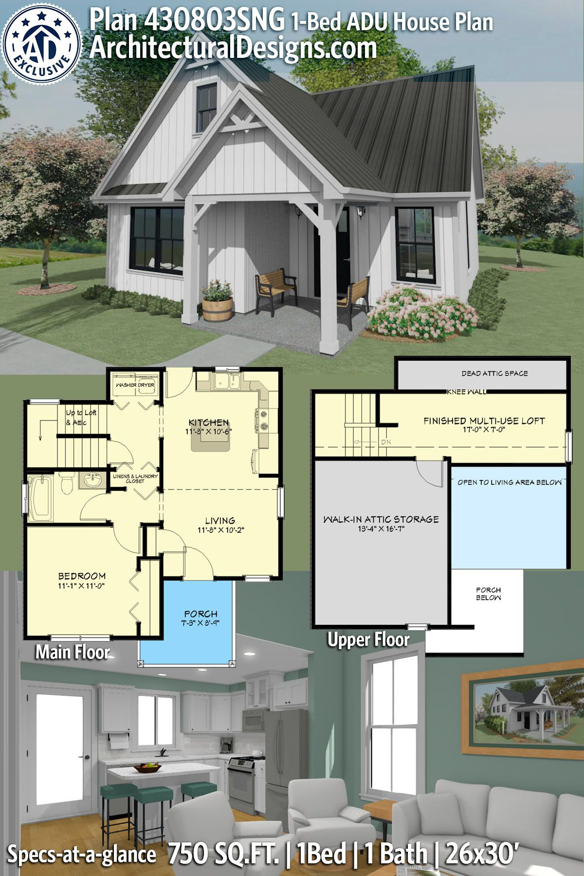 Plan 430803sng Exclusive Adu Home Plan With Multi Use Loft In 2020 Guest House Plans Pool House Plans Craftsman House Plans