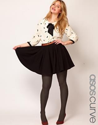 asos curve plus size black skater skirt 2013 | clothes <3