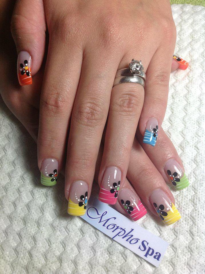 Puntas colores flores negras | Uñas | Pinterest | Dips, Easy and ...