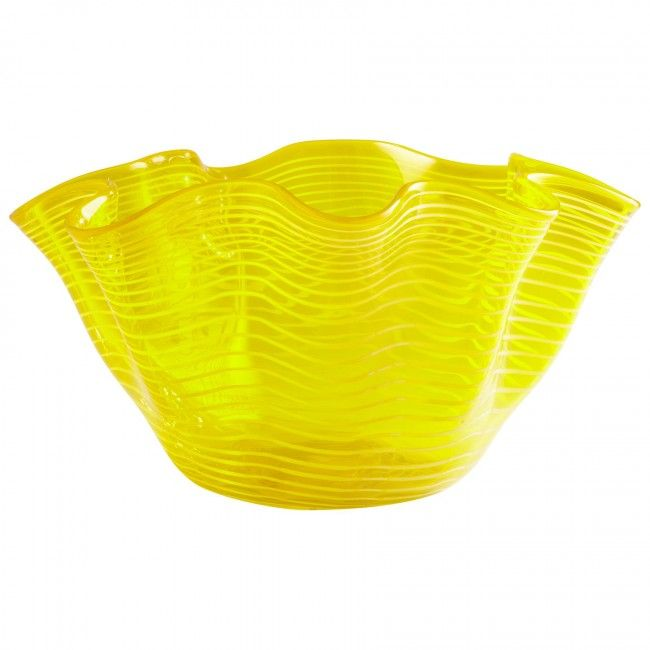 Yellow Decorative Bowl Cyan Design Yellow Scallop Bowl In Glass Material With Yellow