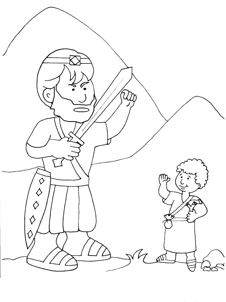 27+ Coloring page of david and goliath download HD