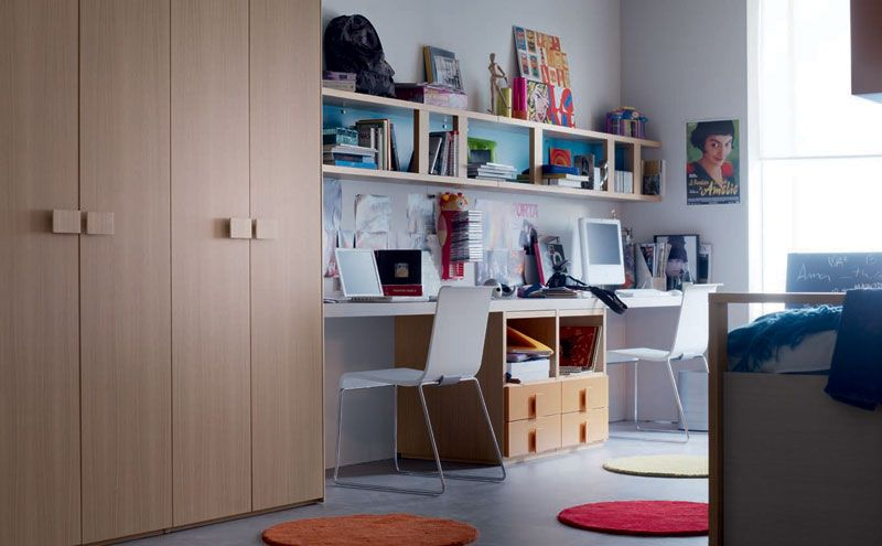 kids room large size wooden cupboard small white bookcase modern double study desk for kids two white chairs white wall paint color extraordinary useful - Double Desk Ideas