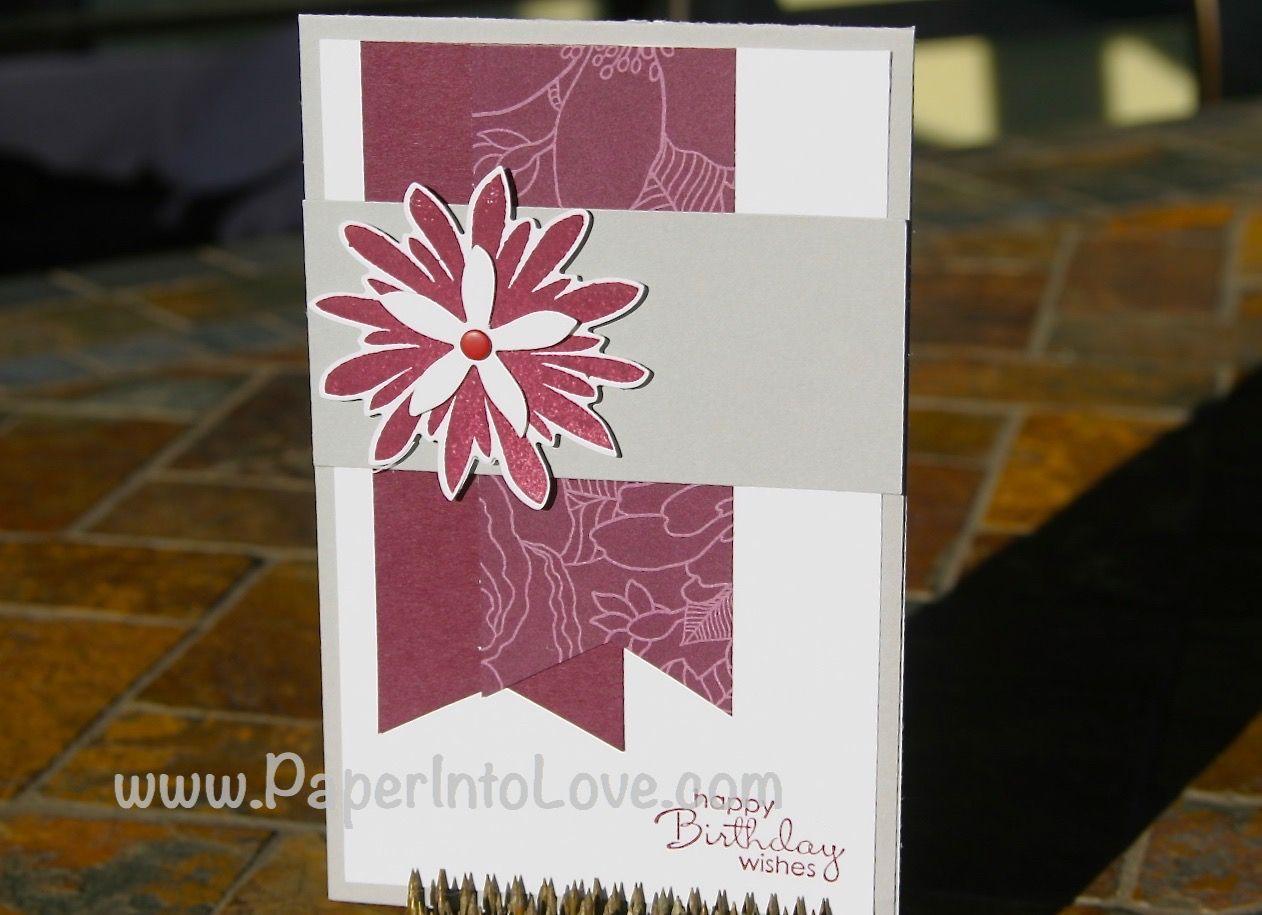 January 1, 2015 Julia Carmichael Paper Into Love: Stampin' Up Flower Patch Birthday 3  Park Lane DSP, Flower Patch, Flower Fair Framelits Die VIDEO