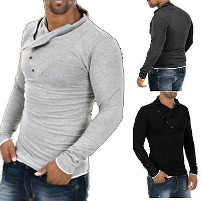Cool Mens Designed Slim Fit Casual T shirt Long Sleeve Polo Shirt Muscle Tee Top