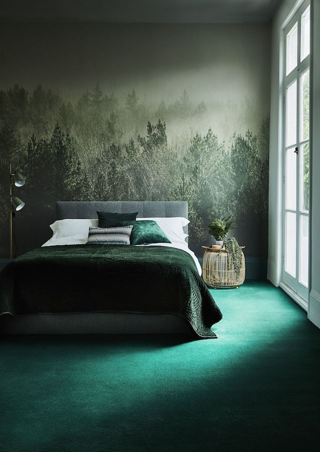 Enchanted Forest Mural Dark Green Velvet Bedspread Emerald Rug