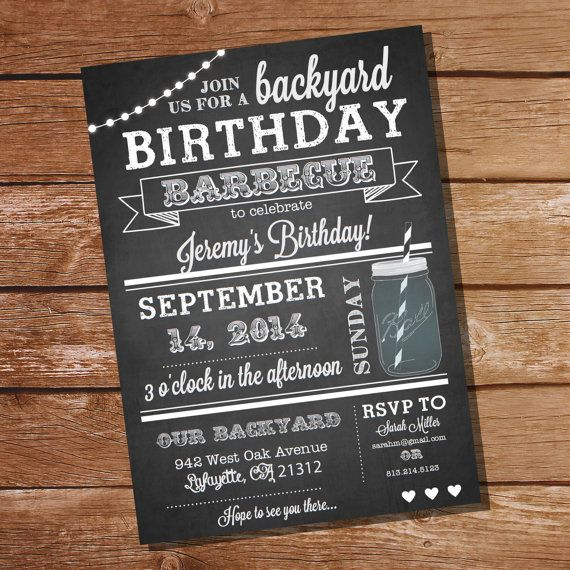 Chalkboard Bbq Birthday Invitation  Instantly Downloadable And