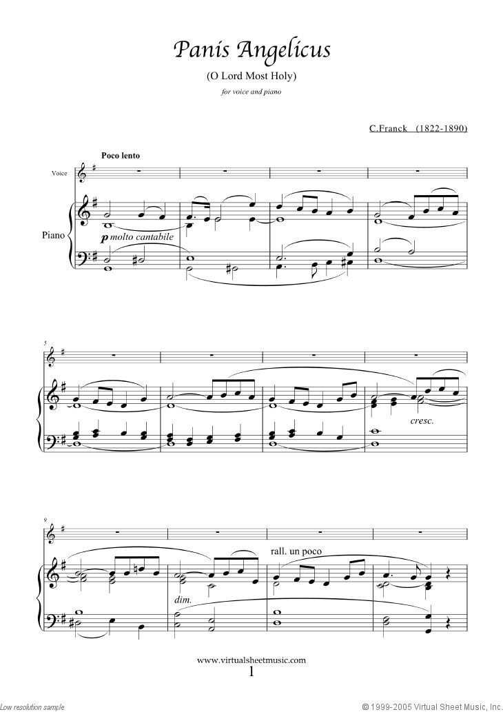 Franck - Panis Angelicus (in G major) sheet music for