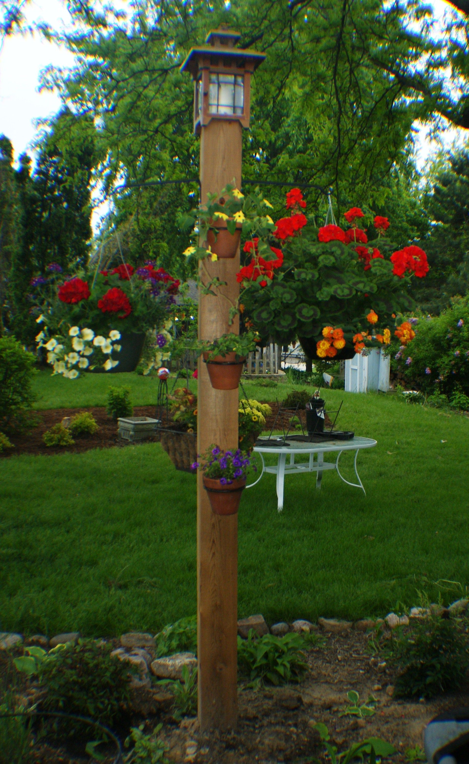 Sturdy out door plant hanger and easy to make. 6x6 cedar post 3 15 ...