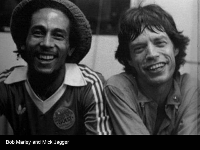 Bob Marley el genio del Regee Q.P.D. y Sir Mick Jagger co fundador de los Rolling Stones.