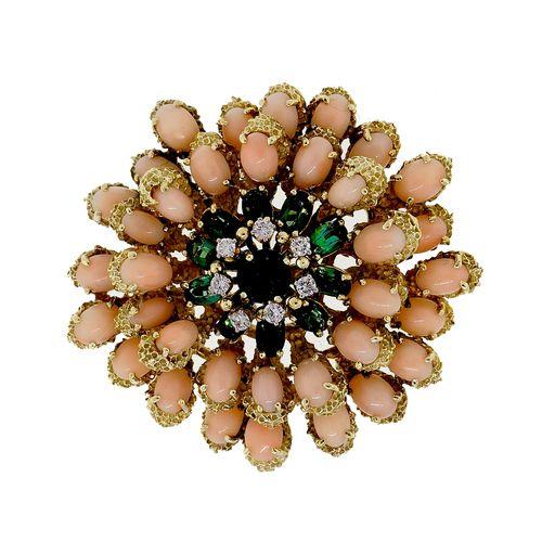 Vintage Designer Le Triomphe Coral Tourmaline Diamond 14k Pin Pendant