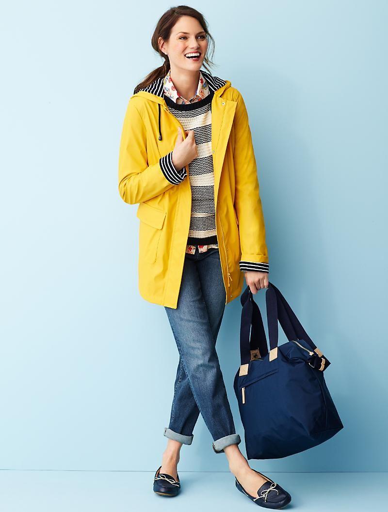 Talbots Classic Rain Coat Yellow Rain Jacket Raincoat Outfit Hooded Raincoat [ 1057 x 800 Pixel ]