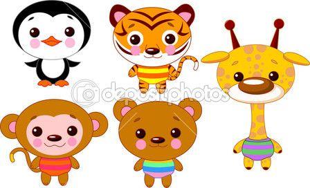 lindo bebé divertido conjunto de animales. ilustración vectorial