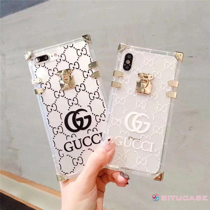 new product e718e 47e16 グッチ パロディー風 iPhoneケース クリア GUCCI風 iPhoneX/8 ...