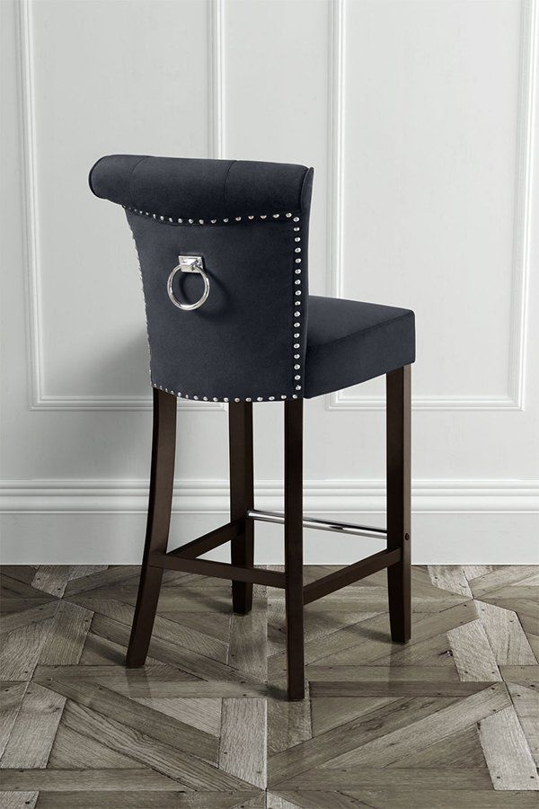 Positano Bar Stool With Back Ring Black Velvet With Images