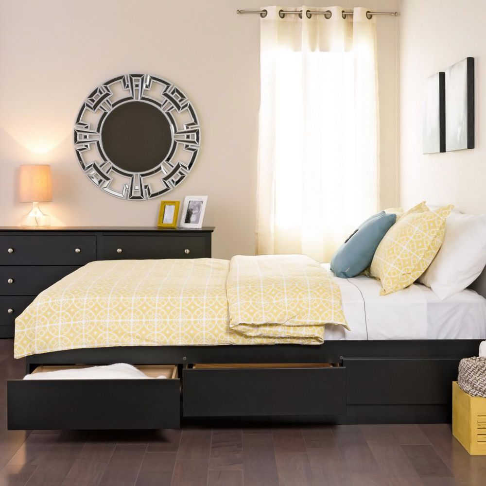 Enhance an outdated bedroom with this sophisticated black platform ...