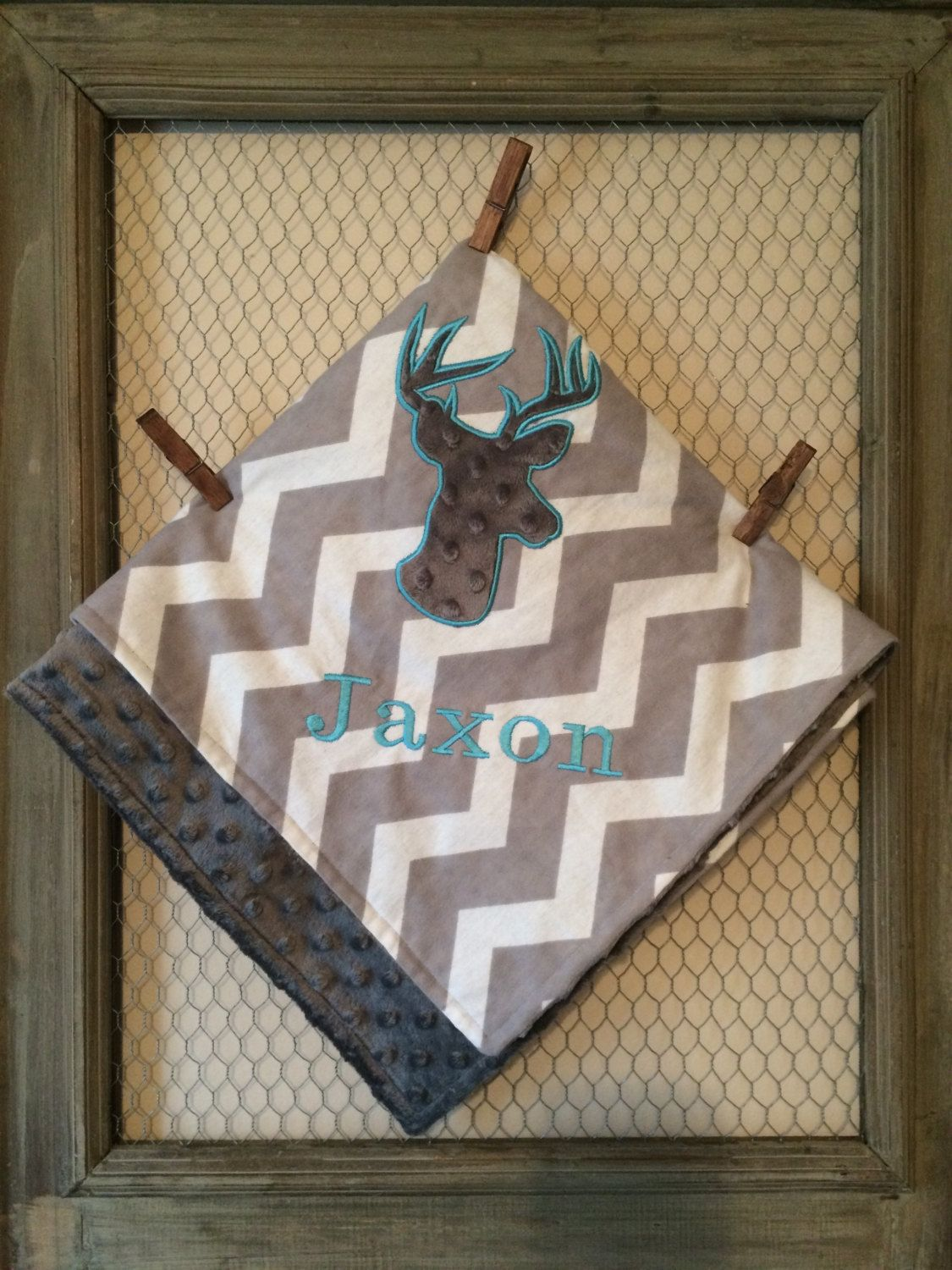 Gray Chevron Deer Blanket,Personalized Blanket by TBEmbroidery4You on Etsy
