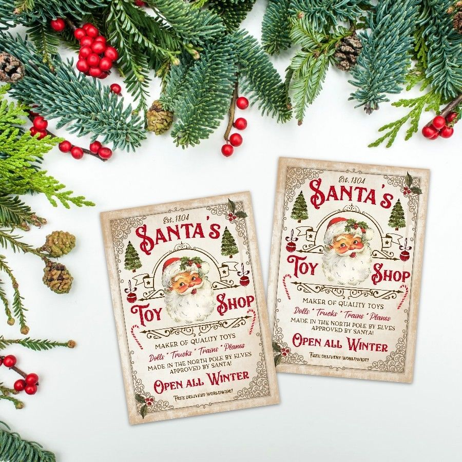 Details about Vintage Christmas Toy Shop Cards, Card Toppers, ATC ...