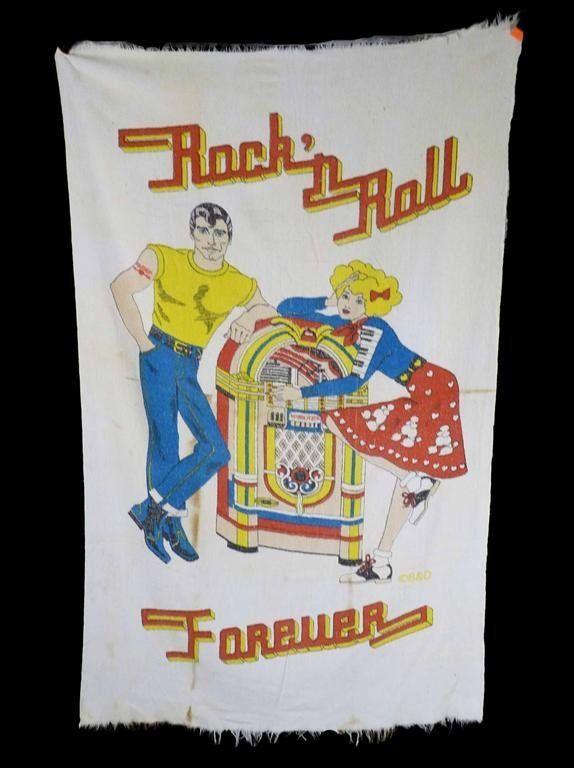 Vintage 50s Rock Roll Forever Sock Hop Girl Jukebox Guy Towel