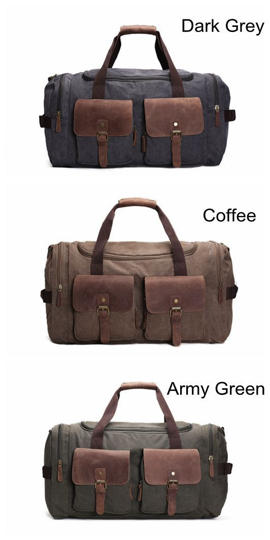 Canvas Leather Overnight Duffle Bag Canvas Travel Tote Duffel Weekend Bag  Luggage AF14 Features  1. Size   L W H 22