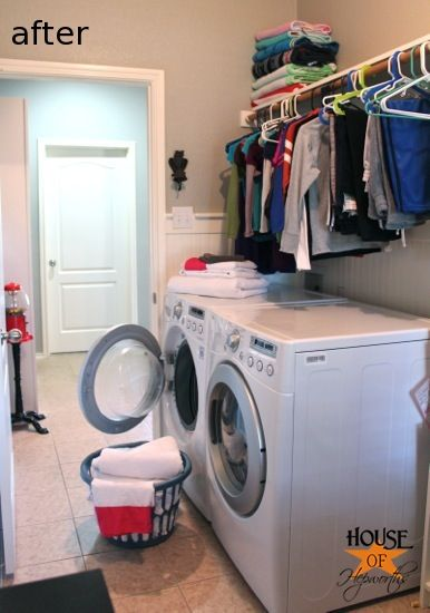 Adding More Functional Space In The Laundry Room Storage Shelf And Clothing Rod House Of Hepworths Diy Laundry Room Shelves Laundry Room Diy Diy Laundry Room Storage