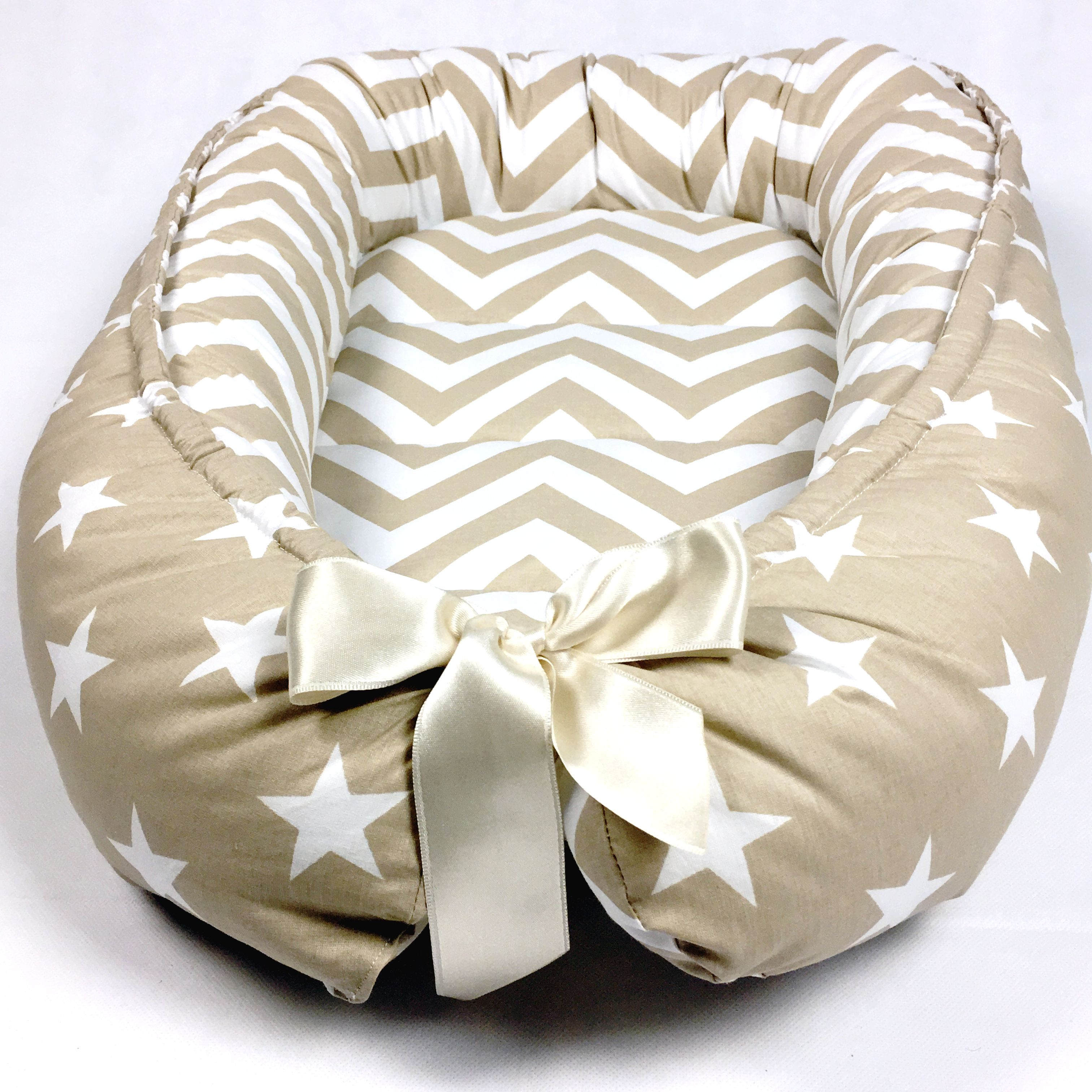 Handmade Double Sided Organic Baby Nest Bed Beige Baby Nest Bed
