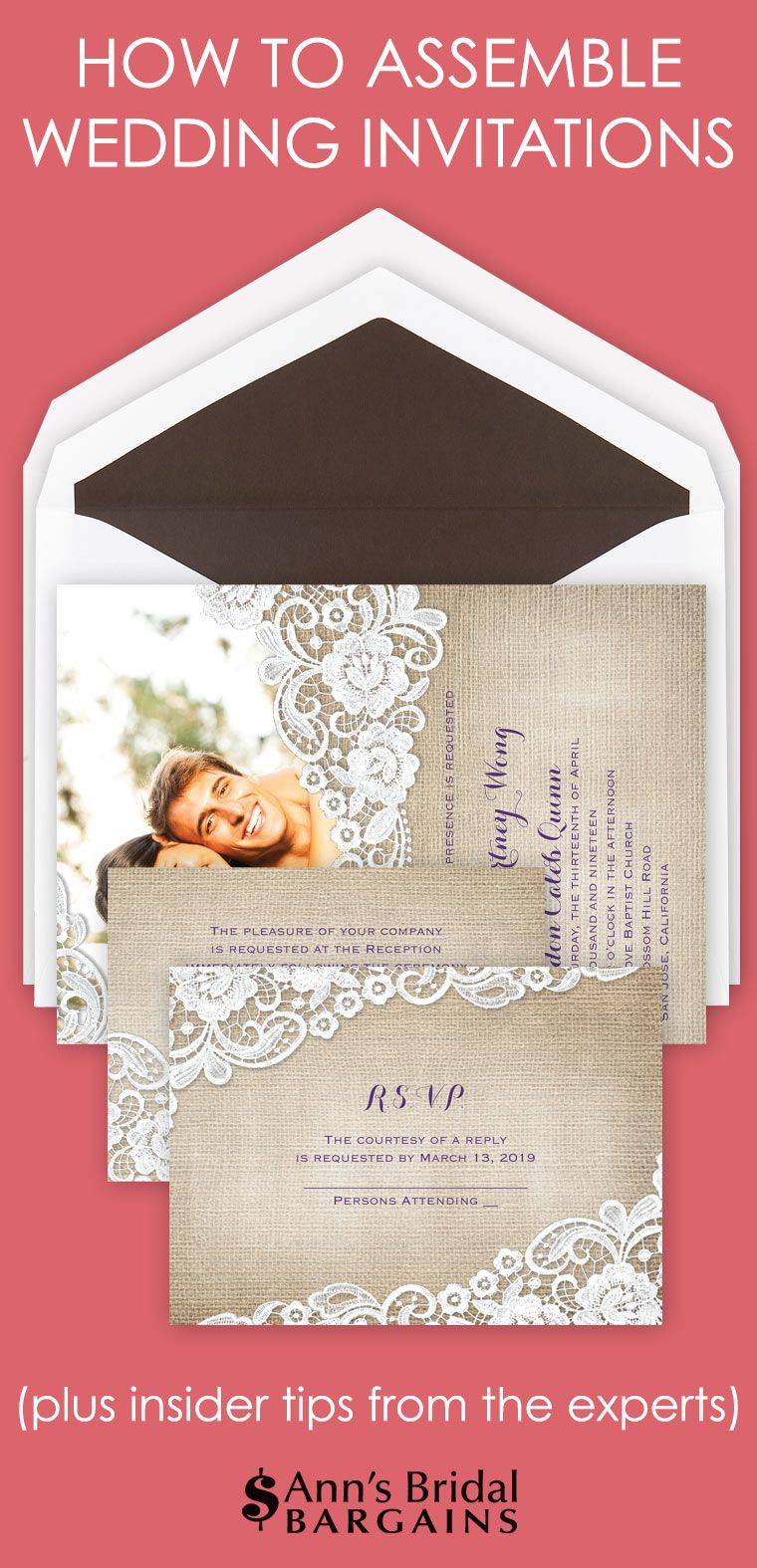 We Ve Put Together These Five Easy Steps And Diagram To Help You Properly Assemble You Wedding Invitations Wedding Invitations Diy Creative Wedding Invitations