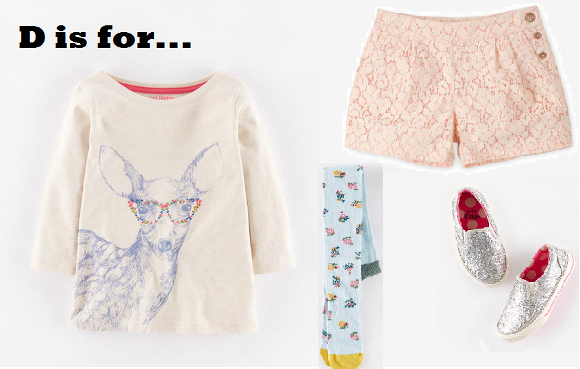 MiniBoden Back to School Look #5:  Woodland Animal T-Shirt, Pretty Lace Shorts, Patterned Tights, Glitter Slip-Ons