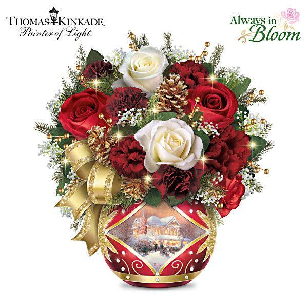 Thomas Kinkade Holiday Cheer Table Centerpiece Flower art