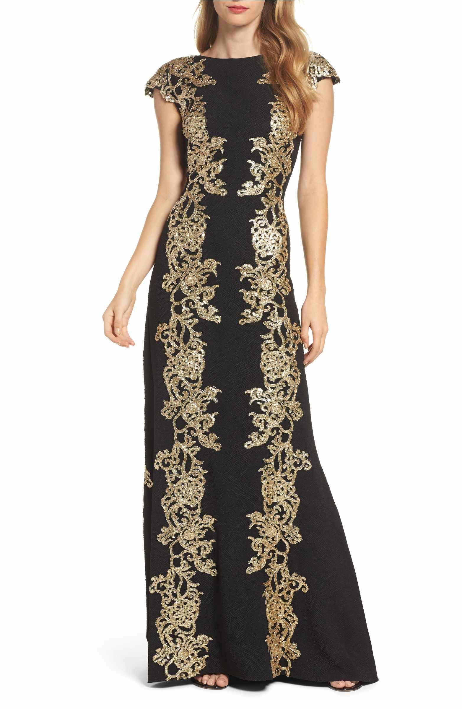 c562496eba8 Main Image - Tadashi Shoji Sequin Appliqué Textured Crepe Gown ...