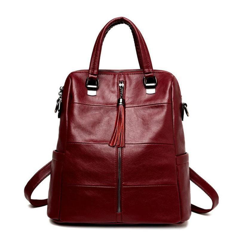 9eb178fe515 Genuine Leather Backpacks Women School Style Sheepskin Travel Bag Real  Leather Backpack Female Brand Designer