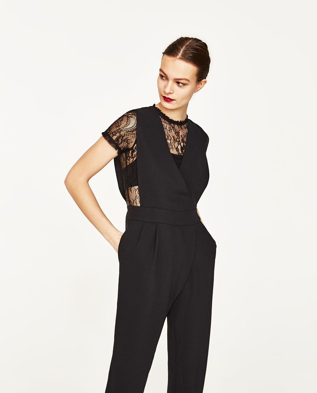 zara - woman - contrast lace jumpsuit | zara overall