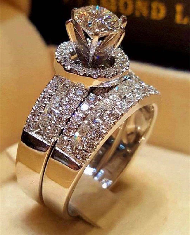 Luxury Crystal Female Big Queen Ring Set Fashion 925