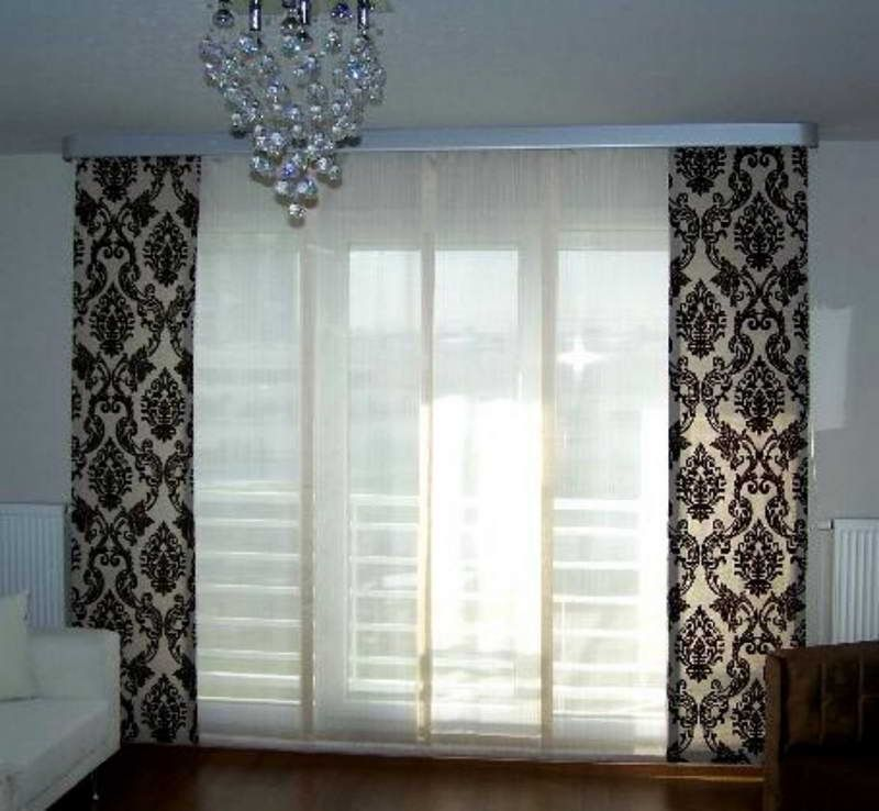 White Sliding Door Curtains With Beautiful Lace For Glass Doors