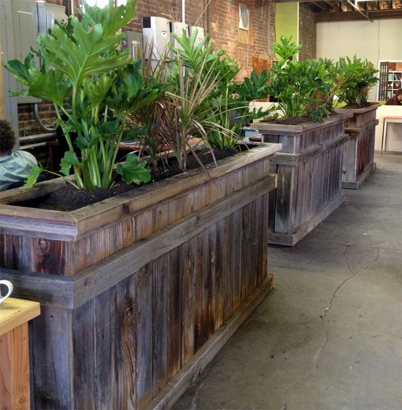 office planter boxes. Reclaimed Wood Planter Boxes / Open Space Office Dividers