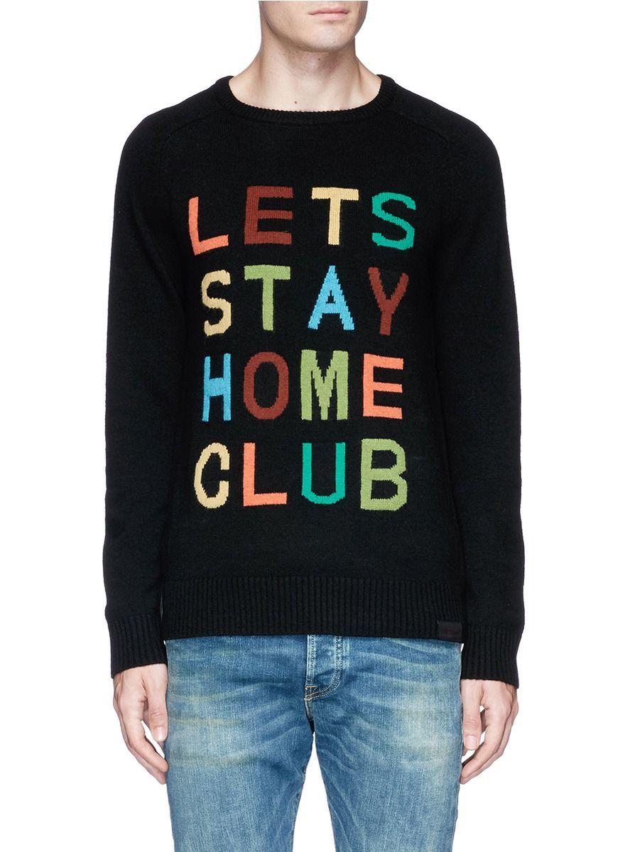 6d93dede13a13a SCOTCH   SODA Slogan intarsia sweater.  scotchsoda  cloth