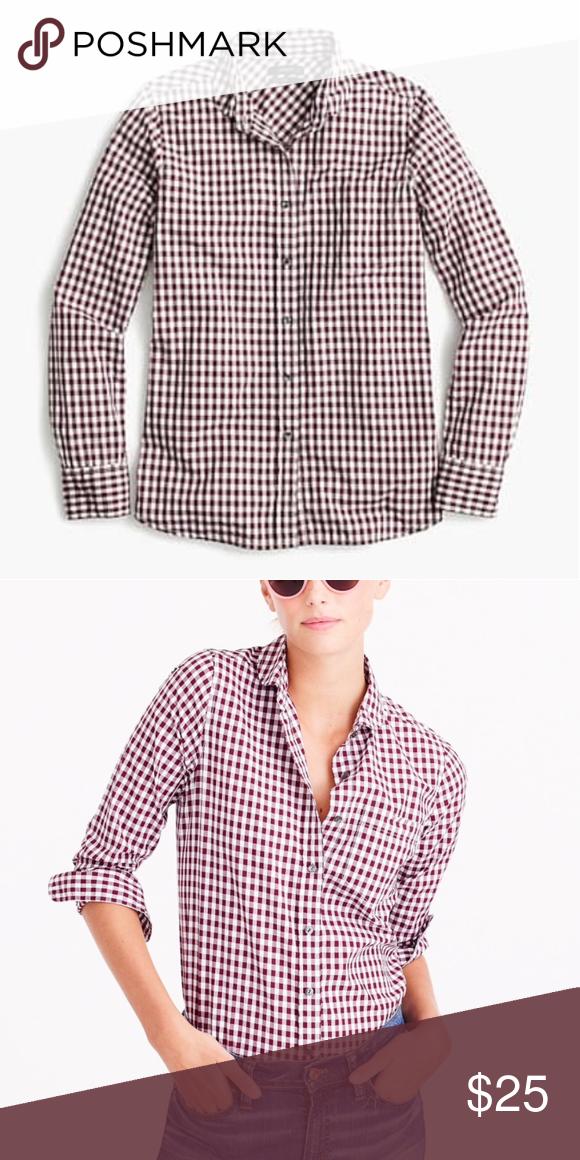 0e0e568f14d0e J. Crew button down shirt Petite club-collar boy shirt in gingham. Like new  condition. color: WHITE CABERNET J. Crew Tops Button Down Shirts