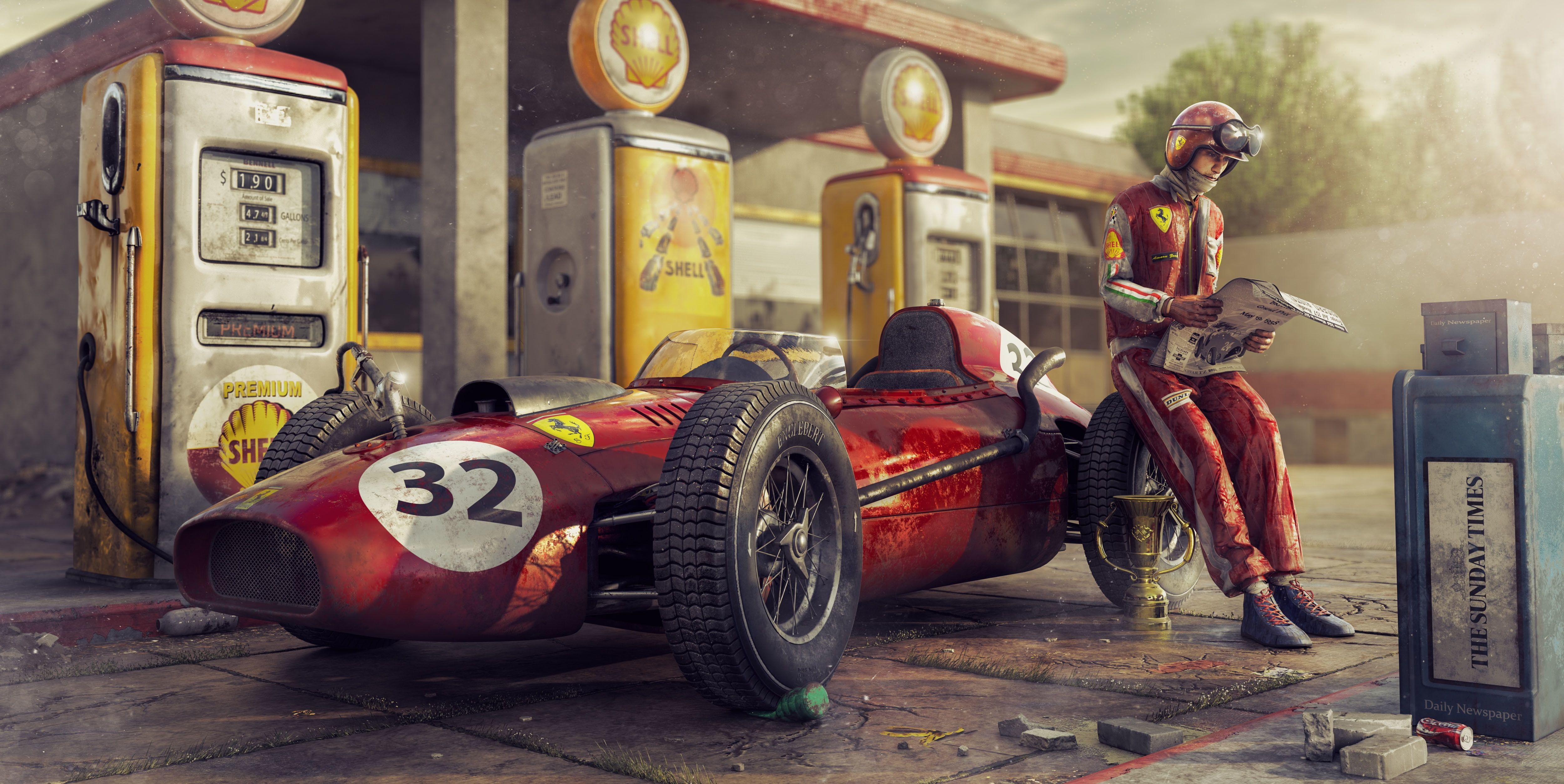 Artwork Car Numbers Vehicle Red Cars Race Cars Ferrari 4k Wallpaper Hdwallpaper Desktop In 2020 Car Wallpapers Racing Car