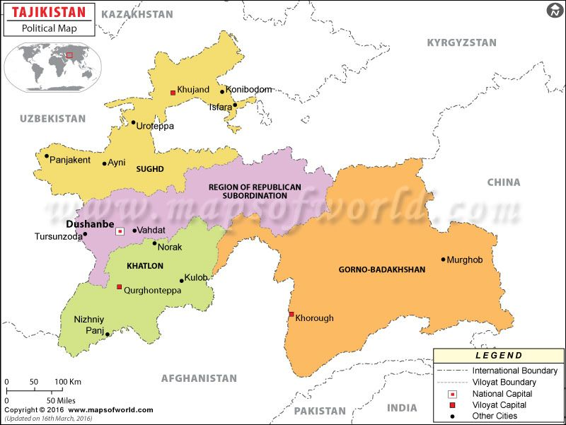 Political Map of Tajikistan Political Map Pinterest