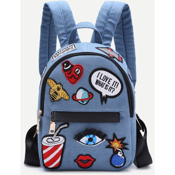 Light Blue Zip Front Cartoon Patch Mini Backpack ($25) ❤ liked on Polyvore featuring bags, backpacks, patch backpack, light blue bag, mini bag, comic book and blue backpack